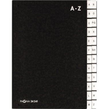 PAGNA Pultordner 24241-04 DIN A4 A-Z 24Fächer Hartpappe sw