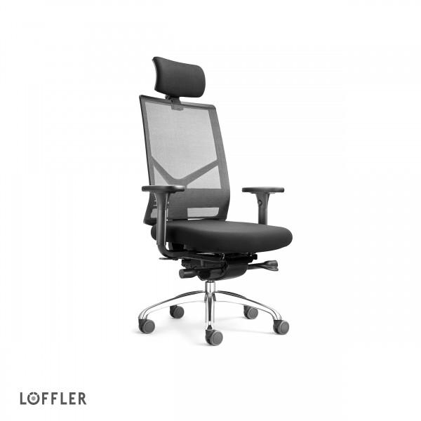 Löffler Bürodrehstuhl Figo Air mit Kopfstütze mit ERGO TOP Mechanik in schwarz