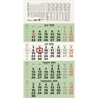 ZETTLER Viermonatskalender 2020 33x63,5 cm 4 Monate pro Seite - 959-0700