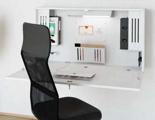 Wandschreibtisch fürs Homeoffice mit abklappbarer Schreibtischplatte, weiß