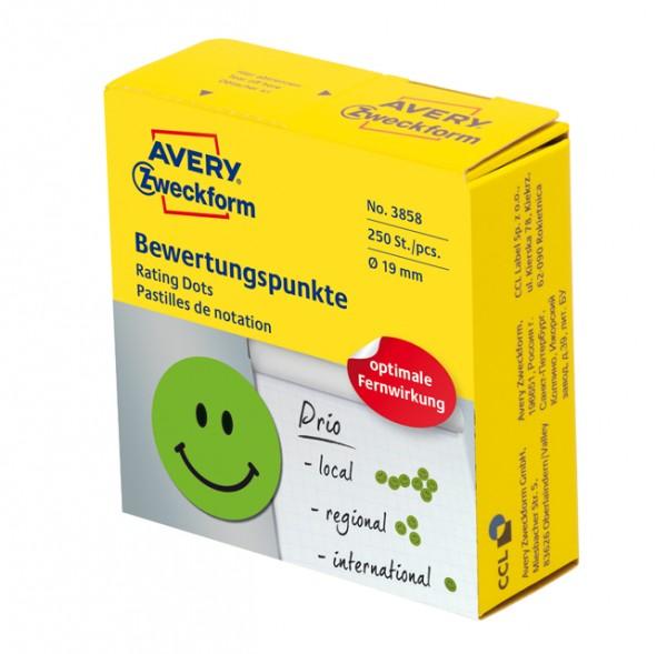 Zweckform 3858 - Bewertungspunkte lachender Smiley grün Durchmesser 19mm 250 Stück