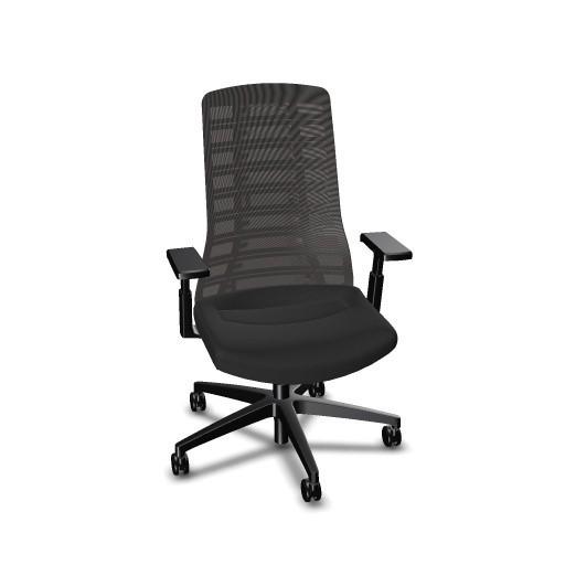 Interstuhl Bürodrehstuhl PUREis³ mit Netzrücken und 3D-Armlehnen, schwarz