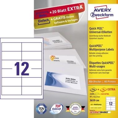 Avery Zweckform Etikett 3659-200 97x42,3mm weiß 2.640 St./Pack.