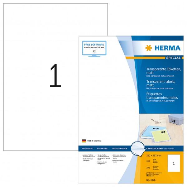 HERMA 4376 Folienetiketten transparent matt DIN A4 100 Stück