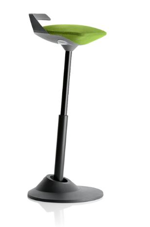 muvman Aktiv-Sitz Stehstuhl, Bezug grün, Gestell schwarz, Sitzhöhe bis 84 cm von aeris