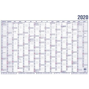 GÜSS® Plakatkalender 2020, 100 x 60 cm (Breite x Höhe), 16 Monate/1 Seite, Papier blau/rot - 17000