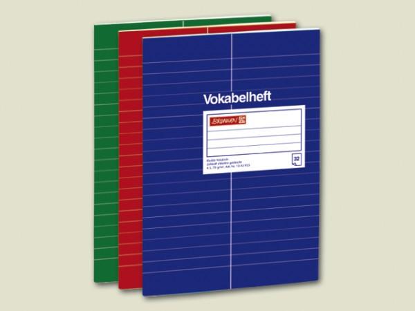 Vokabelheft DIN A5, 32 Blatt geheftet, Einband aus Glanzkarton, 32 Blatt liniert mit Vokabeltrennstr