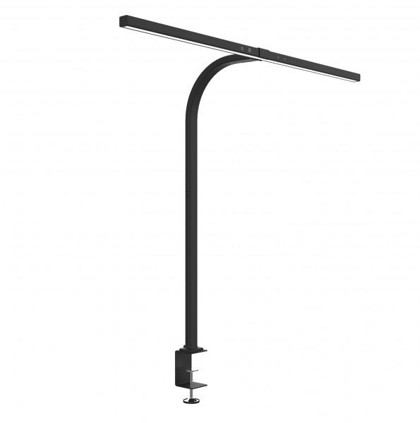 Unilux STRATA LED-Schreibtischleuchte schwarz extrabreiter Leuchtenkopf Klemmbefestigung