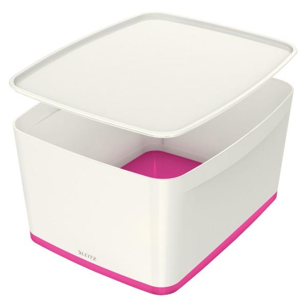 Leitz Aufbewahrungsbox MyBox, Groß, mit Deckel, für DIN A4, weiß/pink 52161023