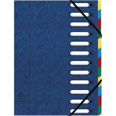Exacompta Ordnungsmappe Harmonika 55122E DIN A4 12Fächer blau