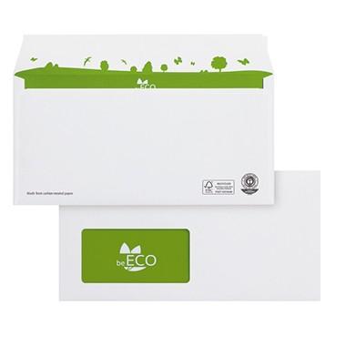 beECO Briefumschlag 02720161 DIN lang, Fenster, haftklebend, weiß