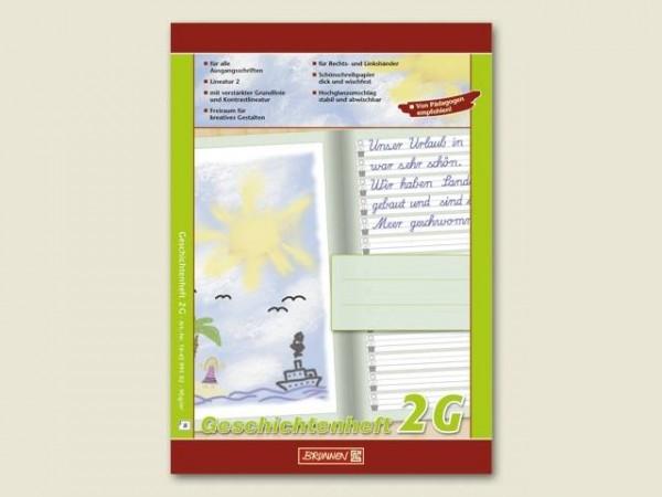 Geschichtenheft Lineatur G2, 16 Blatt, Hersteller Brunnen, DIN A4, linke Seite unliniert, rechte Sei