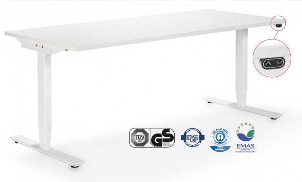 WINEA MOTO - Elektromotorisch verstellbarer Steh-/Sitz-Tisch Dekor weiß Plattenmaß 160 x 80cm
