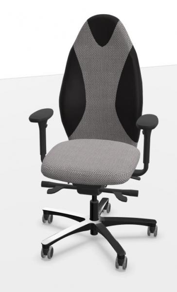Löffler Bürostuhl TANGO Sport mit ERGO-TOP-Mechanik, Wollstoff silber mit Echtledereinsätzen schwarz