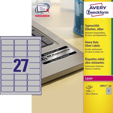 11 Blatt Avery-Zweckform L6013 A4 Polyester-Folie Silber 210x297mm Heavy Duty