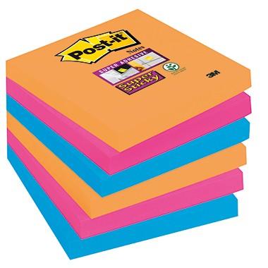Post-it Haftnotiz Super Sticky 6 Blöcke à 3 Farben 76x76mm