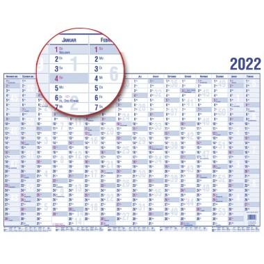 GÜSS® Plakatkalender 2022, 100 x 60 cm (Breite x Höhe), 16 Monate/1 Seite, Papier blau/rot