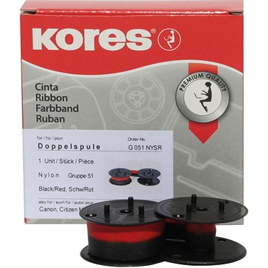 Kores Tischrechnerfarbband G051NYSR Gr.51 13mmx4m Nylon schwarz/rot