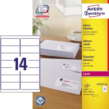 Avery Zweckform Adressetikett Quickpeel L7163 100 1400 Stpack