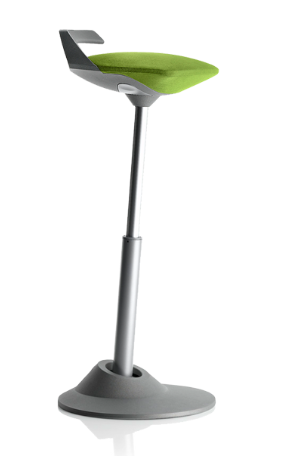 muvman Aktiv-Sitz Stehstuhl, Bezug grün, Gestell grau, Sitzhöhe bis 84 cm von aeris