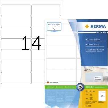 HERMA Etiketten auf DIN A4 Bögen 4678 99,1x38,1mm weiß, 1.400 Etiketten pro Pack