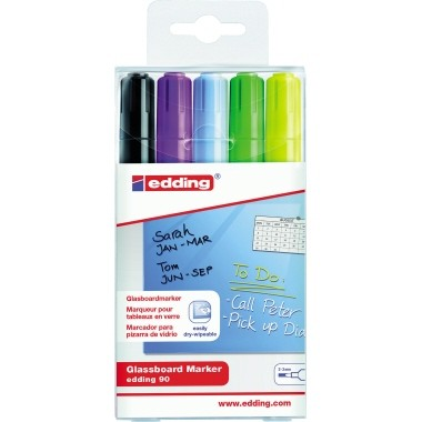 edding Glasboardmarker 4-90-5-999 2-3mm Rundspitze sort. 5 St./Pack.