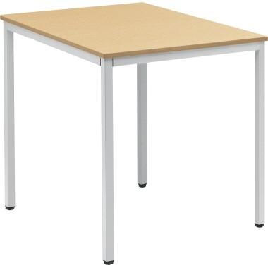 Konferenztisch 800x700mm Gestell alusilber Platte buche
