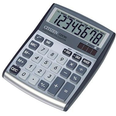 Citizen Tischrechner CDC-80 8-stellig Solar/Batterie silber oder schwarz