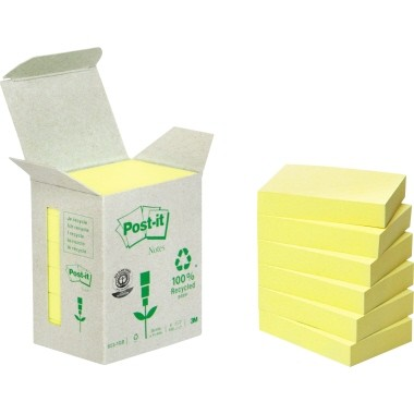 Post-it Haftnotiz Recycling Notes Haftnotizen 51x38mm gelb 6 Blöcke