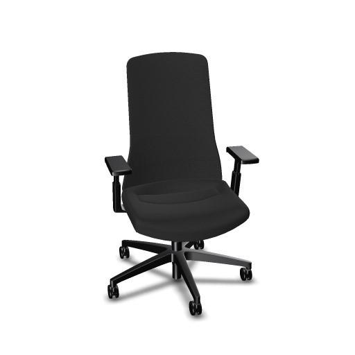 Interstuhl Bürodrehstuhl PUREis³ mit vollgepolstertem Rücken und 3D-Armlehnen, schwarz