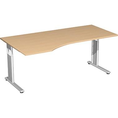 Geramöbel Schreibtisch Flex links S-617306-BS C-Fuß bu/si