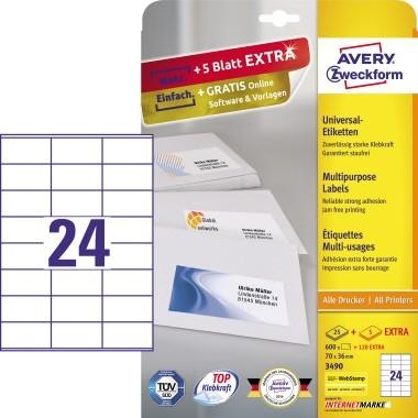 Avery Zweckform Universaletikett 3490 70x36mm weiß 720 St./Pack.