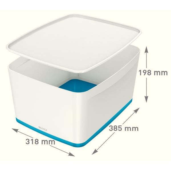 Leitz Aufbewahrungsbox Mybox Gross Mit Deckel Fur Din A4 Weiss Blau