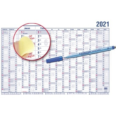 GÜSS® Plakatkalender 2021, 100 x 60 cm (Breite x Höhe), 16 Monate/1 Seite, Papier blau/rot