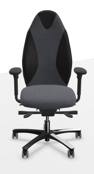 Löffler Bürostuhl TANGO Sport mit ERGO-TOP-Mechanik, Stoff black/grey mit Echtledereinsätzen schwarz