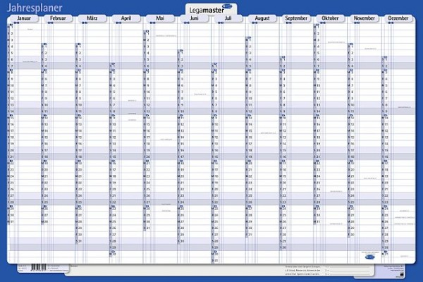 Legamaster Plakatkalender 90 x 60 cm (B x H) 12 Monate/1 Seite Karton, folienkaschiert