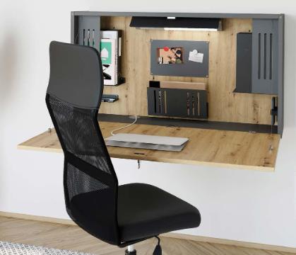 Wandschreibtisch fürs Mini Office mit klappbarer Schreibtischplatte, asteiche/graphit